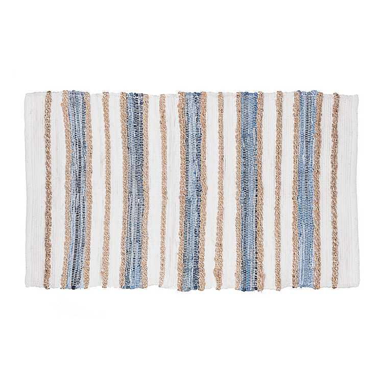 White Denim And Jute Stripe Ter Rug