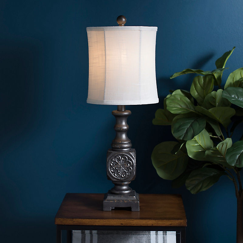 Embossed Charcoal Lucia Table Lamp