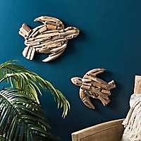 Set of 2 Faux Driftwood Sea Turtle Wall Plaques