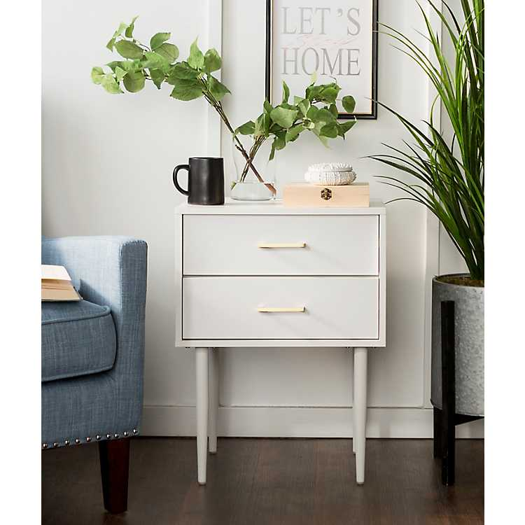 White Mid Century Modern Accent Table