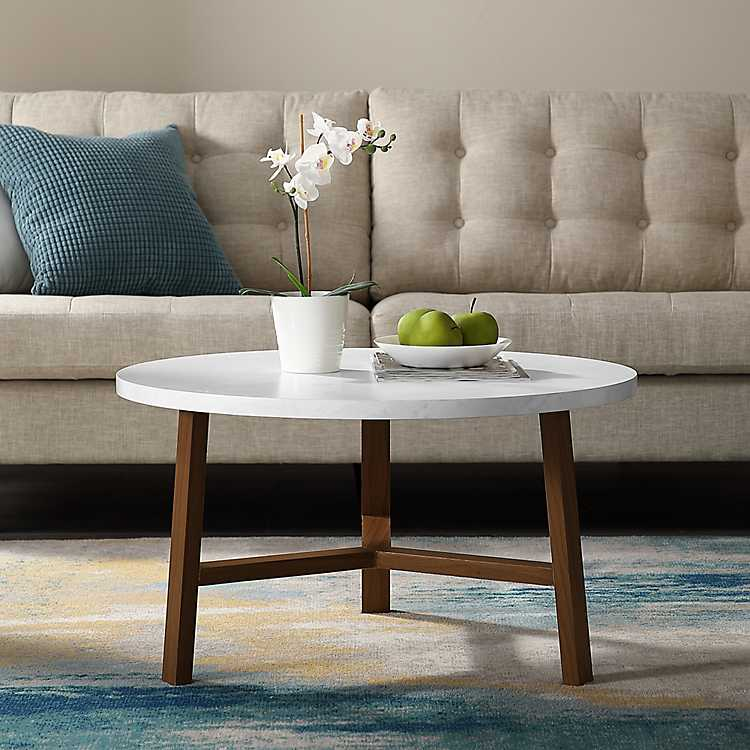 Round Faux Marble Coffee Table With Acorn Legs Kirklands