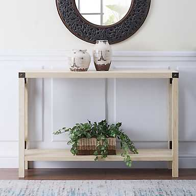 Gray Wash Farmhouse X-Frame Console Table