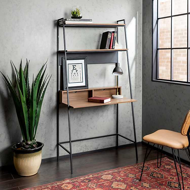 new styles 2ff91 e4336 Mocha Metal and Wood Ladder Style Desk