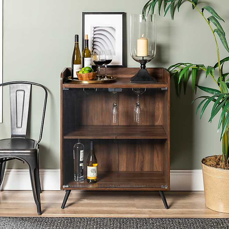Product Details Dark Walnut Bar Cabinet With Gl Doors