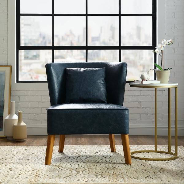 Strange Navy Modern Curved Back Upholstered Accent Chair Kirklands Inzonedesignstudio Interior Chair Design Inzonedesignstudiocom