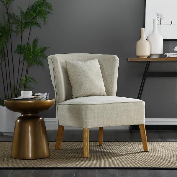 Superb Ivory Modern Curved Back Upholstered Accent Chair Kirklands Inzonedesignstudio Interior Chair Design Inzonedesignstudiocom