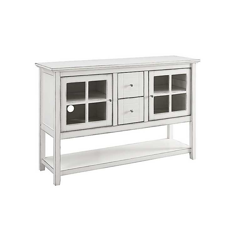 Antique White Wood TV Stand Console Table
