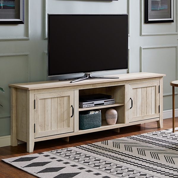 Farmhouse White Wood Country Media Cabinet