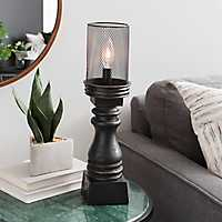 Black Candlestick Wire Cage Uplight