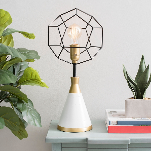 White and Gold Geometric Globe Uplight