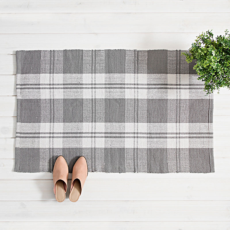 Gray and White Buffalo Check Scatter Rug