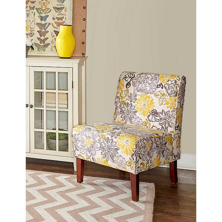 Bella Fl Gray And Yellow Accent Chair