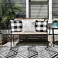 Acacia Wood Outdoor Bench with Black Metal Trim