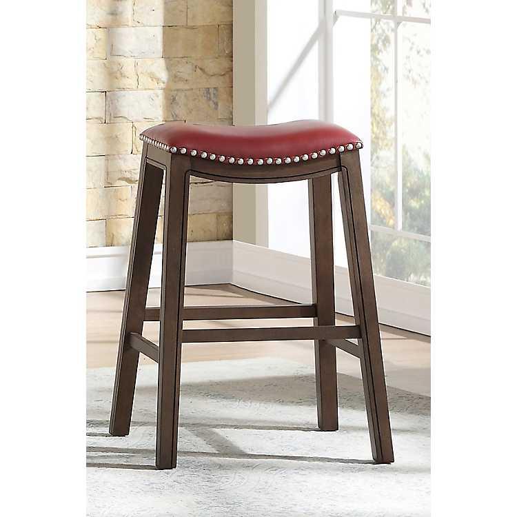 Prime Red Ella Saddle Bar Stool With Nailhead Trim Uwap Interior Chair Design Uwaporg