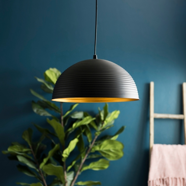 Bronze Finish Metal Dome Pendant Light