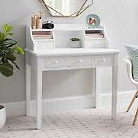 Cream Wood 5-Drawer Desk