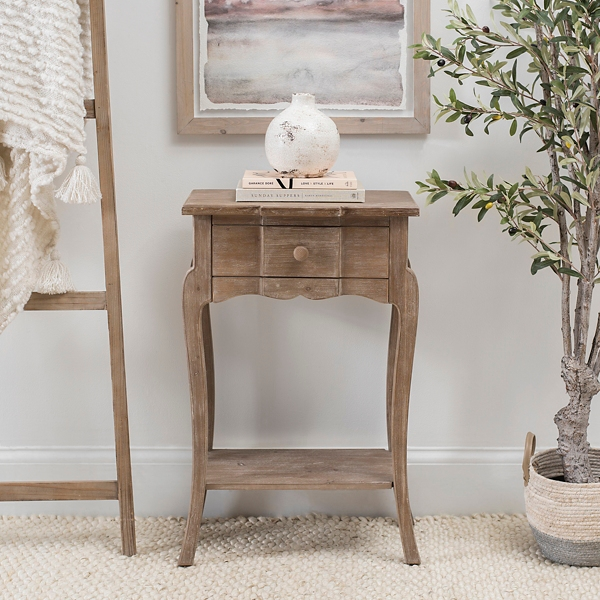 Carmen Natural 1-Drawer Side Table