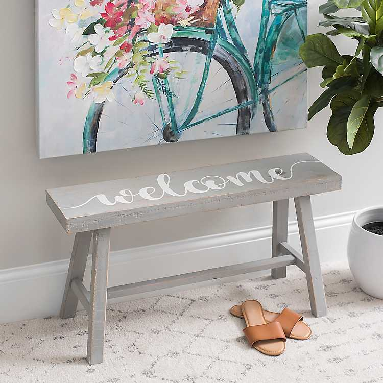 Gray Welcome Accent Bench