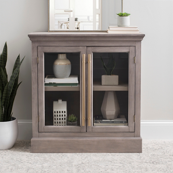 Gray Window 2-Door Cabinet with Bronze Handles