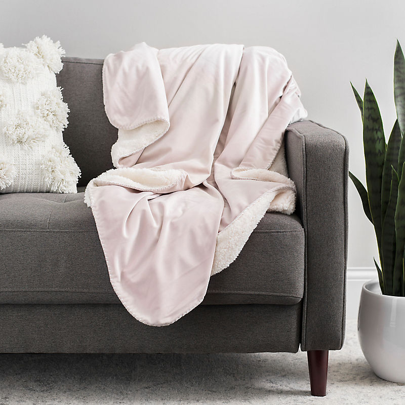 Mauve Velvet Sherpa Throw with Whipstitch Edge