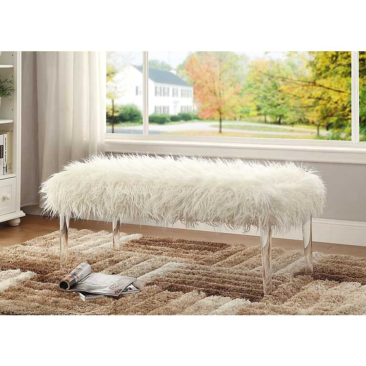 Peachy Dallas Faux Fur Bench With Acrylic Legs Squirreltailoven Fun Painted Chair Ideas Images Squirreltailovenorg