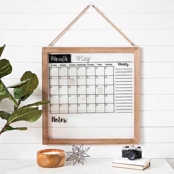Wood Framed Wall Calendar Dry Erase Board