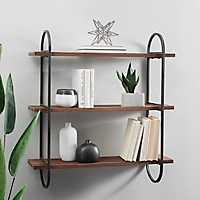 Wood Triple Wall Shelf with Metal Frame