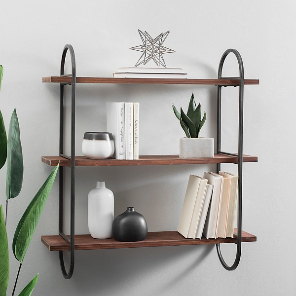 Wood Triple Wall Shelf with Metal Frame