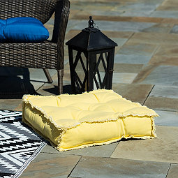 Yellow Frayed Edge Floor Cushion