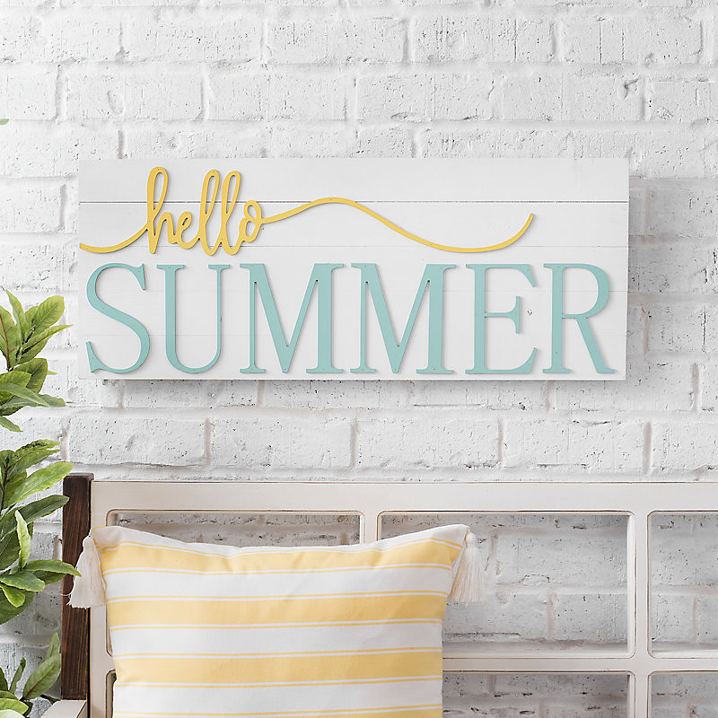 Hello Summer Wooden Wall Plaque