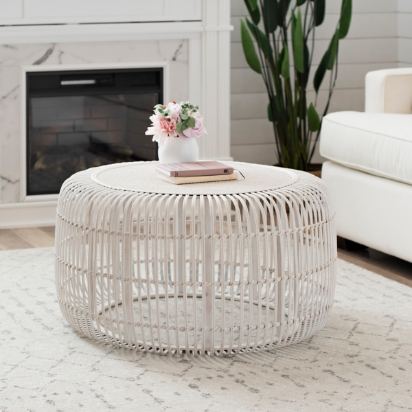 White Bamboo Drum Coffee Table