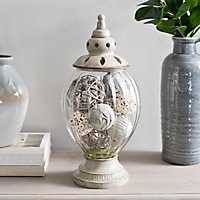 Distressed Gray Ribbed Potpourri Jar