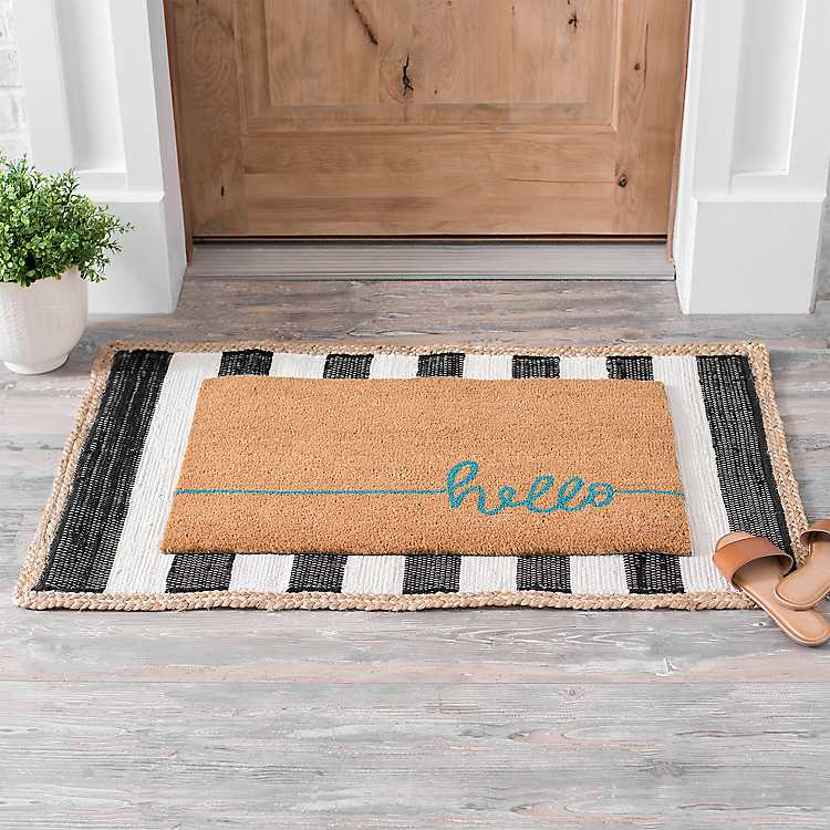 Black And Jute Trim Outdoor Ter Rug