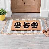 Gray Stripe Scatter Rug with Jute Trim