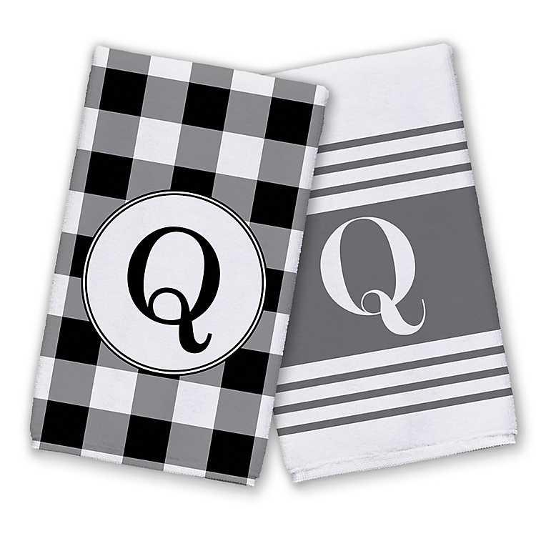 Patterned Monogram Q Kitchen Towels, Set of 2