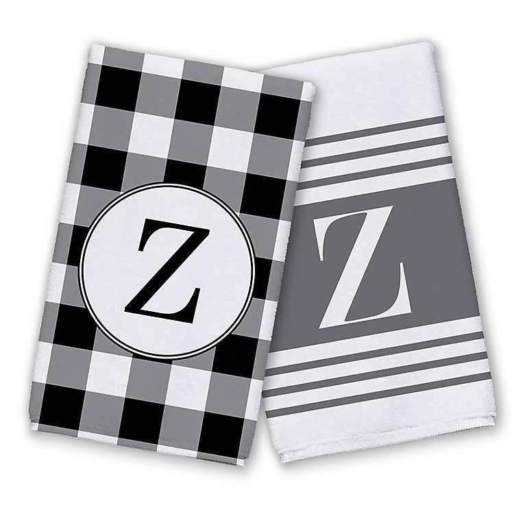 Patterned Monogram Z Kitchen Towels Set Of 2