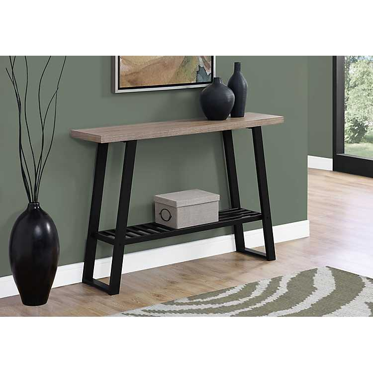 Dark Taupe Console Table With Black