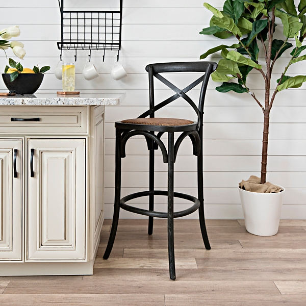 Burnt Wood X-Back Rattan Seat Bar Stool