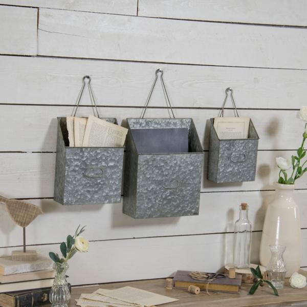Set of 3 Hanging Galvanized Planters