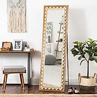 Natural Geometric Cheval Full Length Floor Mirror