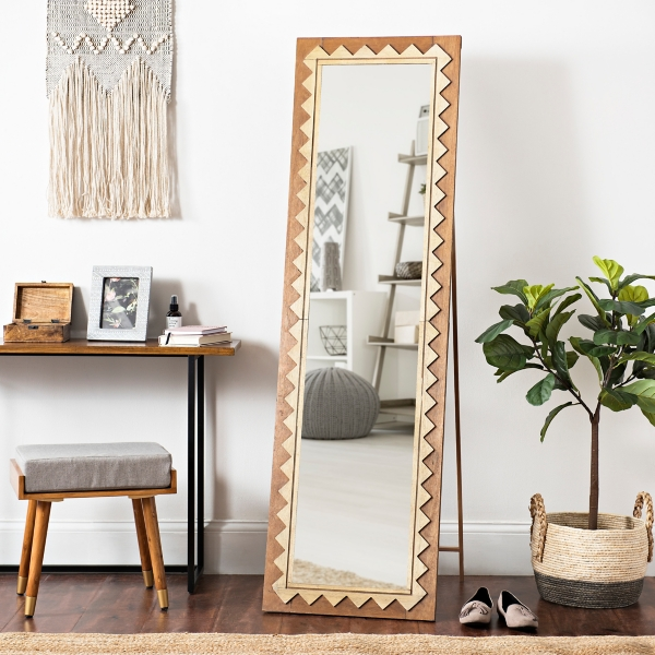 Natural Geometric Cheval Full Length Floor Mirror