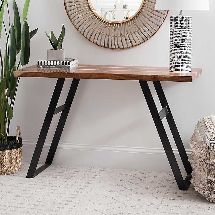 Wood Top Console Table With Metal Legs