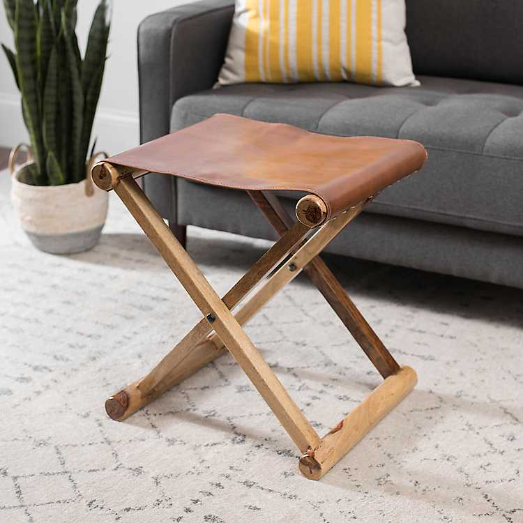 Cool Leather And Wood Fold Out Ottoman Pabps2019 Chair Design Images Pabps2019Com