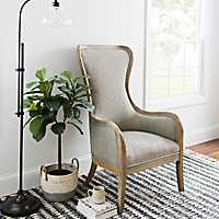 Light Gray High Back Wood Frame Accent Chair