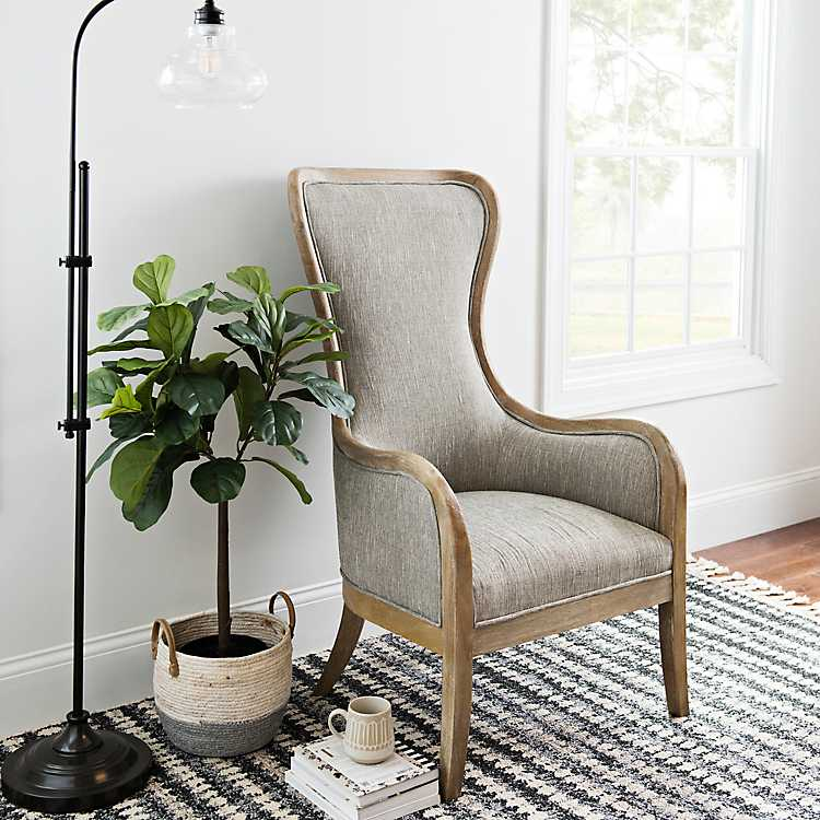 Outstanding Light Gray High Wing Back Accent Chair Onthecornerstone Fun Painted Chair Ideas Images Onthecornerstoneorg