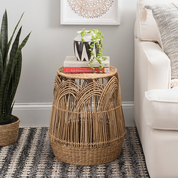 Woven Rattan Drum Side Table