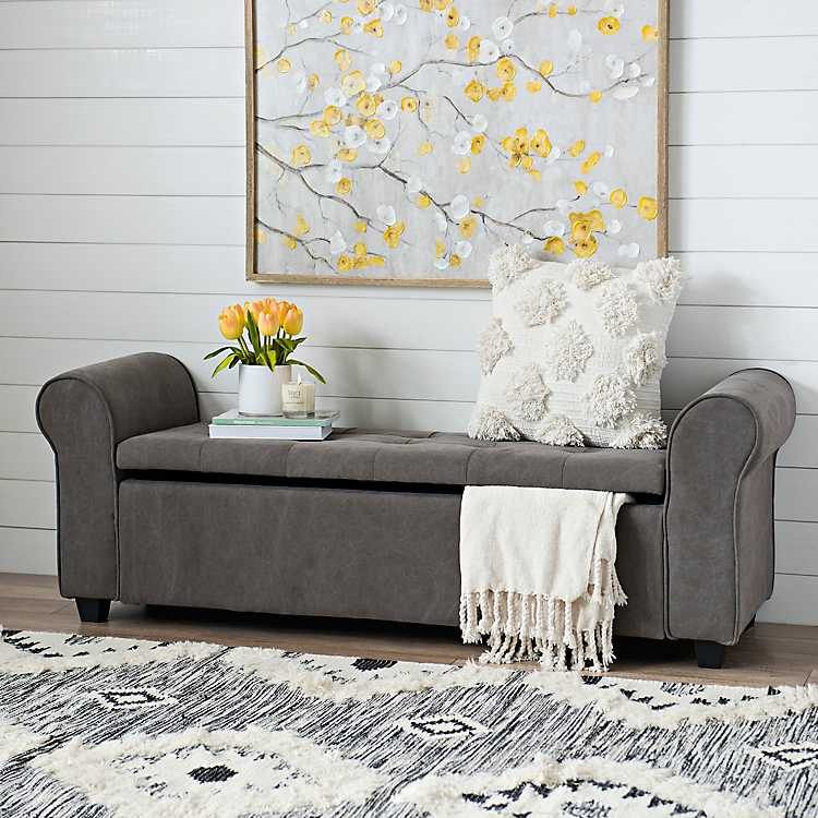 Gray Canvas Tufted Storage Bench