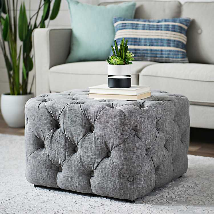Miraculous Gray Linen Tufted Ottoman Bralicious Painted Fabric Chair Ideas Braliciousco