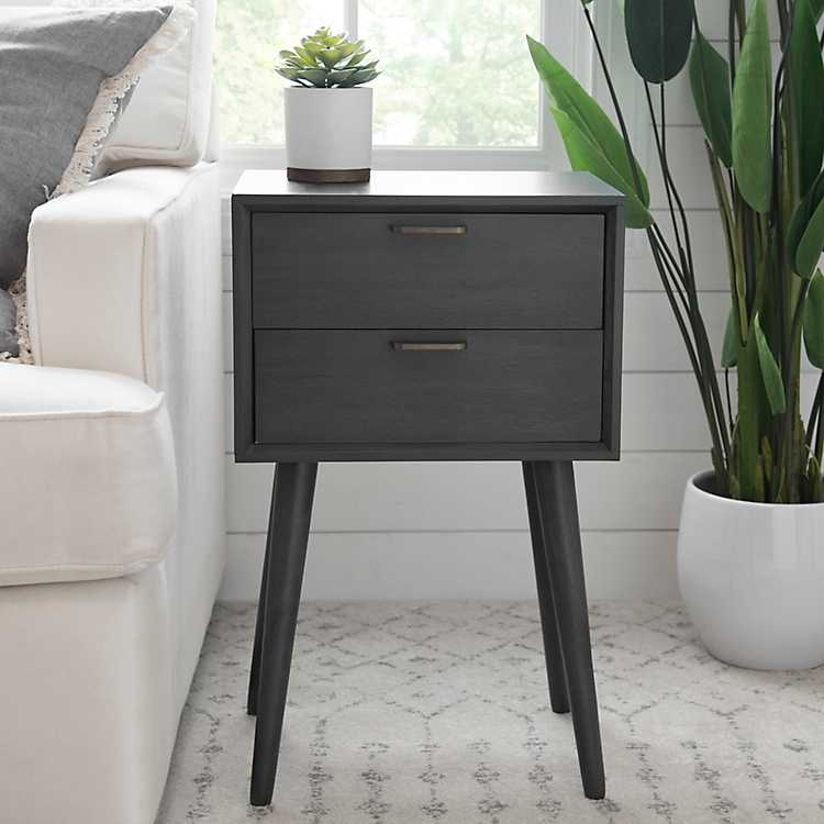 Mid Century Modern 2 Drawer Side Table