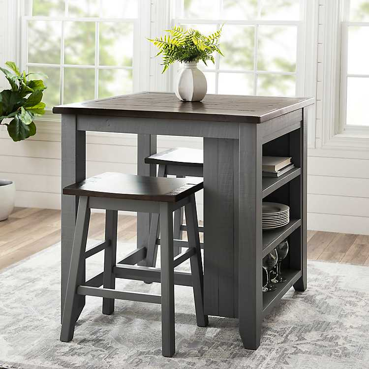 Gray 3 Pc Franklin Kitchen Island And Stools Set Kirklands